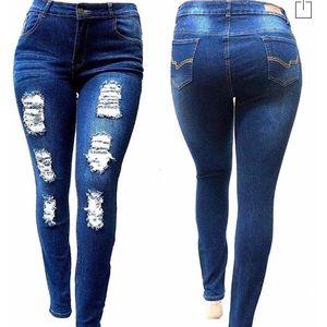 Denim - Women's distressed jeans